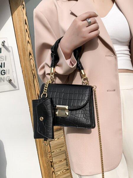 Croc Embossed Crossbody Bag With Satchel Bag