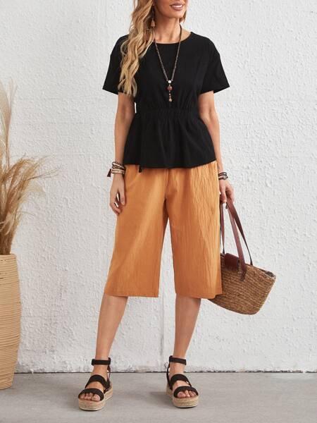 Ruffle Hem Top & Solid Pants Set