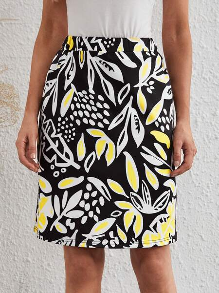 Plants Print Elastic Waist Skirt