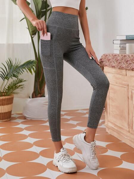 Wide Waistband Pocket Side Leggings