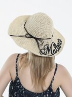 Letter Embroidered Straw Hat