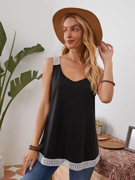 Guipure Lace Panel Tank Top
