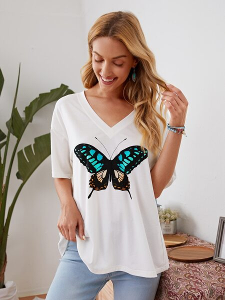 Drop Shoulder Butterfly Print Tee