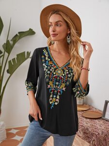V-neck Embroidery Detail Top