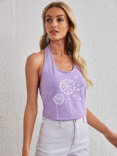 Plant & Butterfly Halter Top