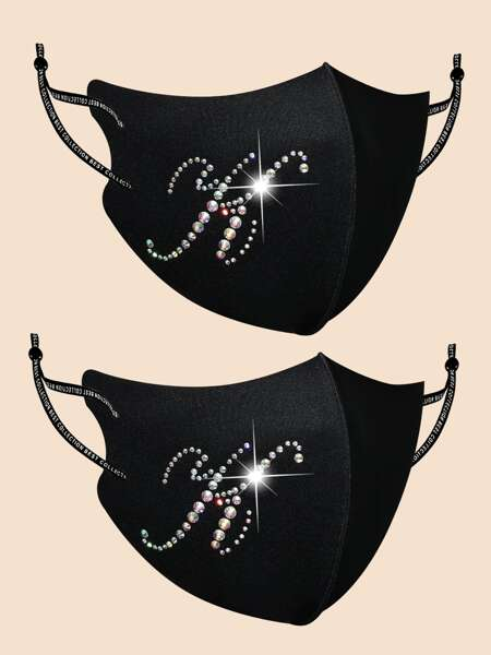 2pcs Rhinestone Letter Decor Face Mask