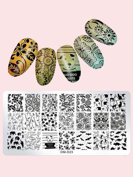1pc Flower Pattern Nail Art Template Plate