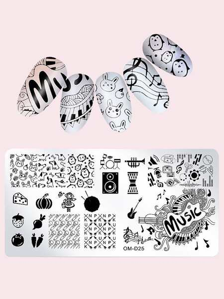 1pc Cartoon Graphic Nail Art Template Plate