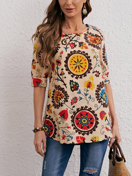 Allover Floral Round Neck Blouse