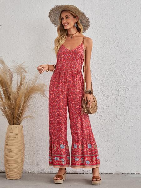 Ditsy Floral Wide Leg Cami Jumpsuit