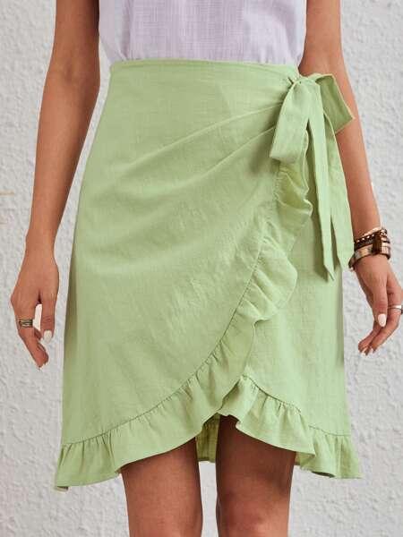 Tie Side Ruffle Wrap Skirt