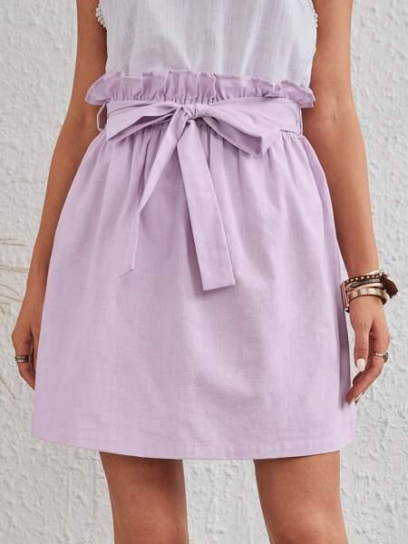 Solid Self Tie Straight Skirt