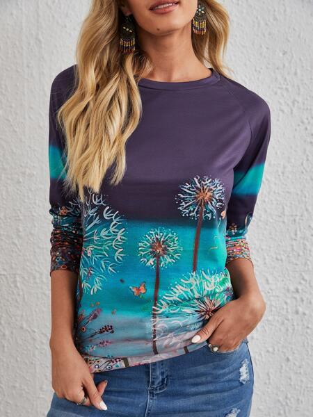 Dandelion & Butterfly Print Sweatshirt