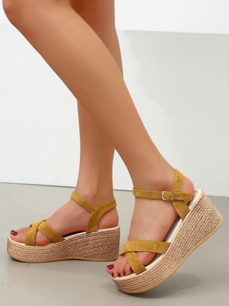 Minimalist Buckle Decor Wedge Sandals