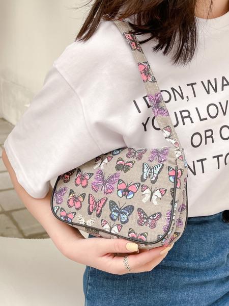 Butterfly Print Canvas Baguette Bag