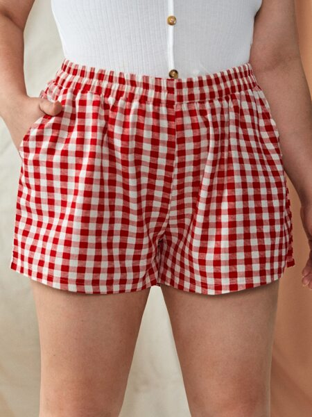 Plus Slant Pocket Gingham Shorts