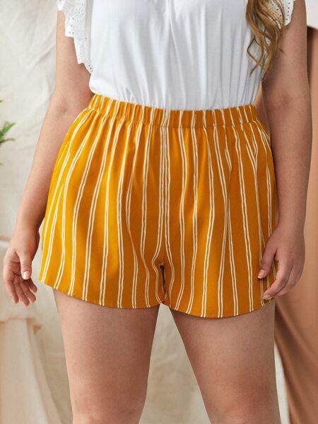 Plus Vertical Striped Elastic Waist Shorts