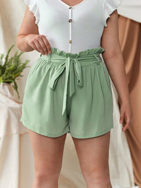 Plus Paper Bag Waist Belted Shorts