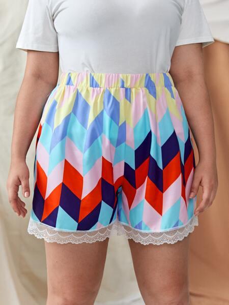 Plus Colorblock Geo Print Lace Trim Shorts