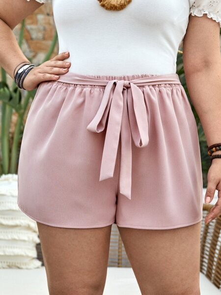 Plus Solid Tie Front Shorts
