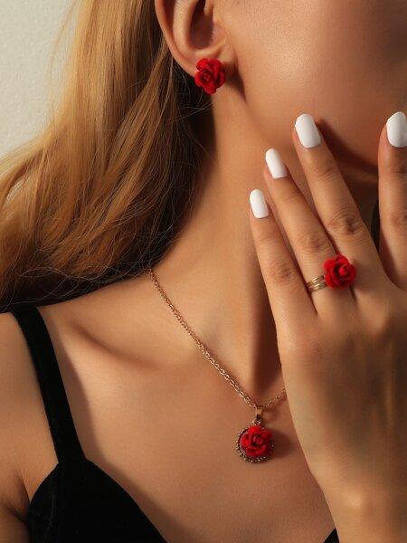 7pcs Flower Decor Jewelry Set