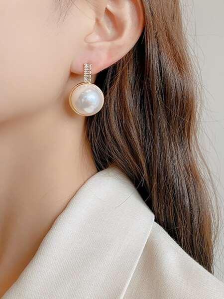 Faux Pearl & Zircon Decor Earrings