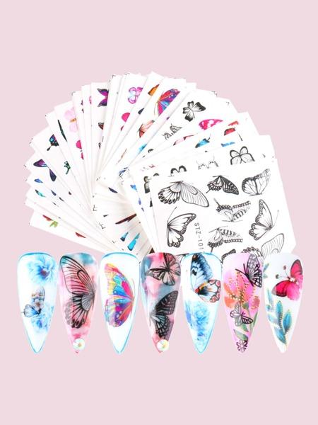 30sheets Butterfly & Flower Pattern Nail Art Sticker