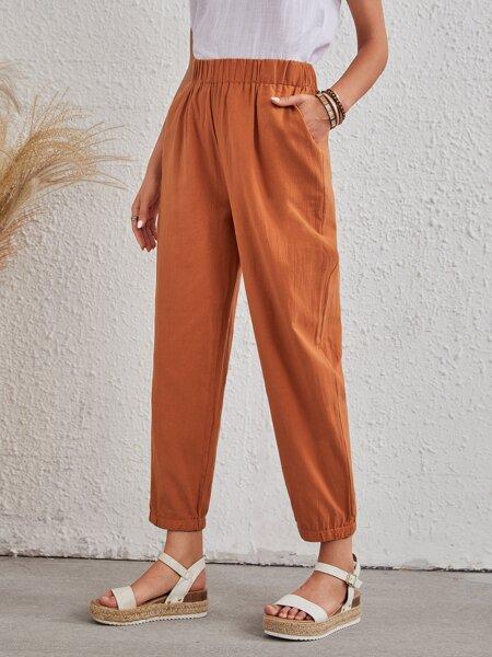 Solid Slant Pocket Carrot Pants