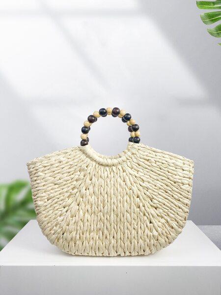Beaded Decor Straw Bag