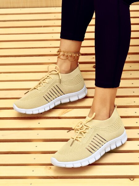Lace Up Decor Knit Running Shoes