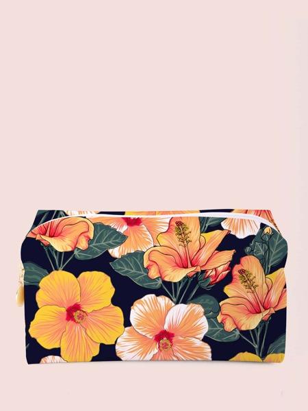 Flower Pattern Square Makeup Bag