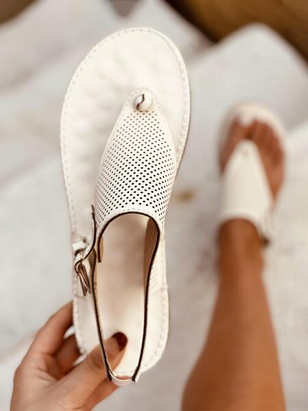 Hollow Out Slingback Thong Sandals