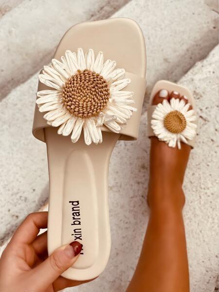 Floral Decor Slide Sandals
