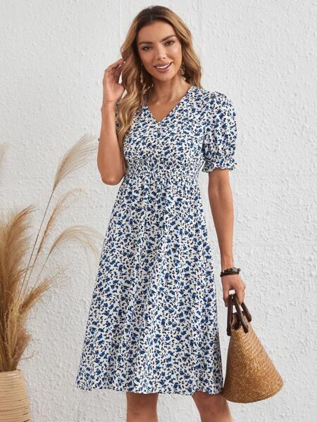 Ditsy Floral Flounce Sleeve A-line Dress