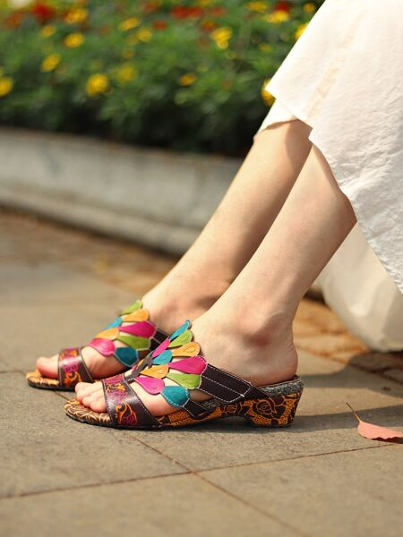 Colorful Leather Mule Sandals