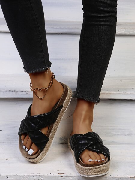 Cross Strap Quilted Flatform Mules
