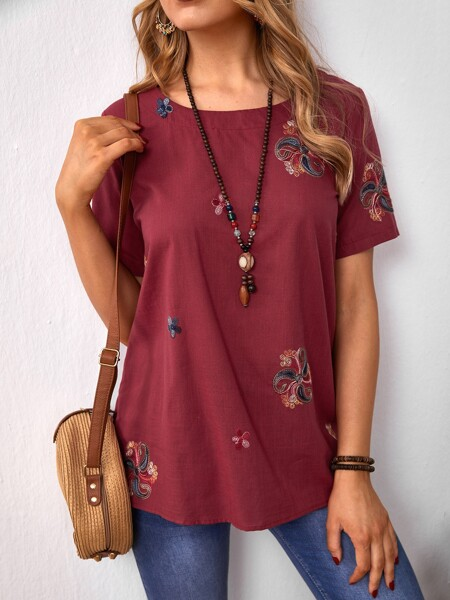 Paisley Embroidery Blouse