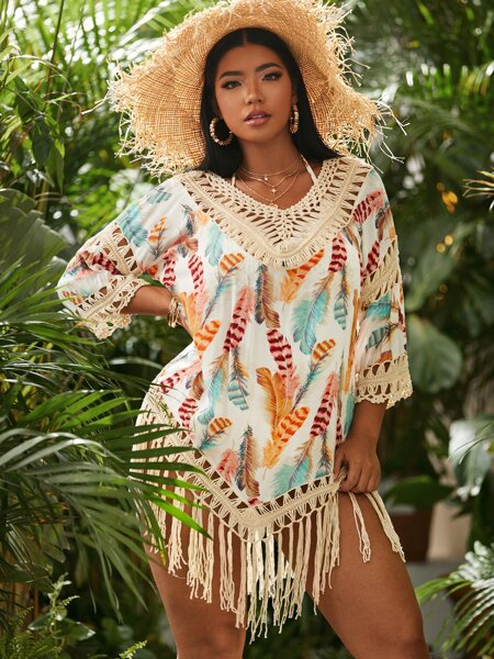 Plus Feather Print Contrast Crochet Cover Up
