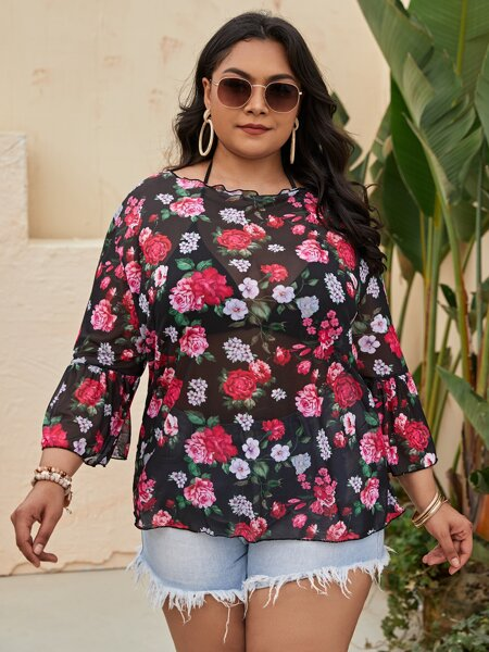 Plus Floral Print Mesh Cover Up