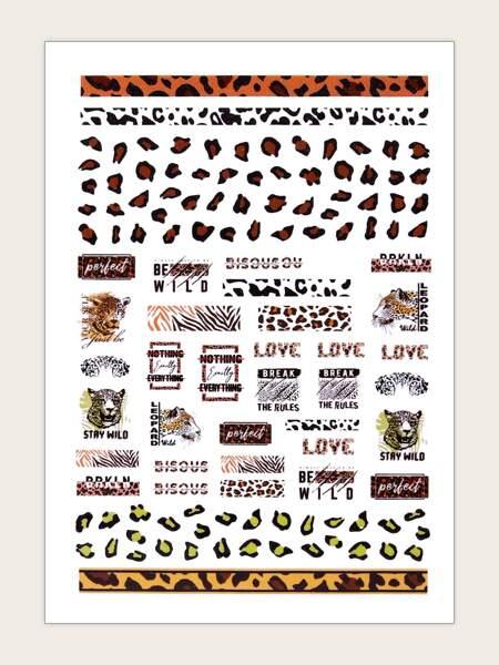 1sheet Leopard Nail Art Sticker