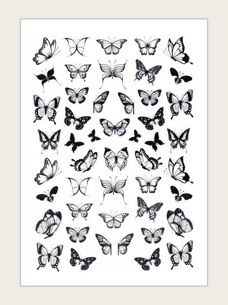 1sheet Butterfly Pattern Nail Art Sticker