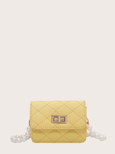 Faux Pearl Handle Quilted Mini Crossbody Bag