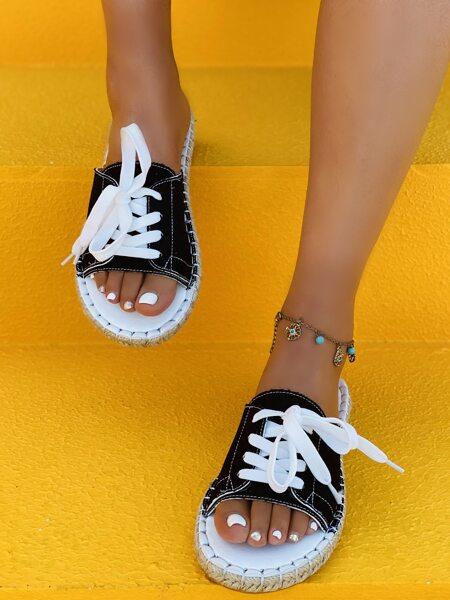 Lace-up Decor Espadrille Slide Sandals