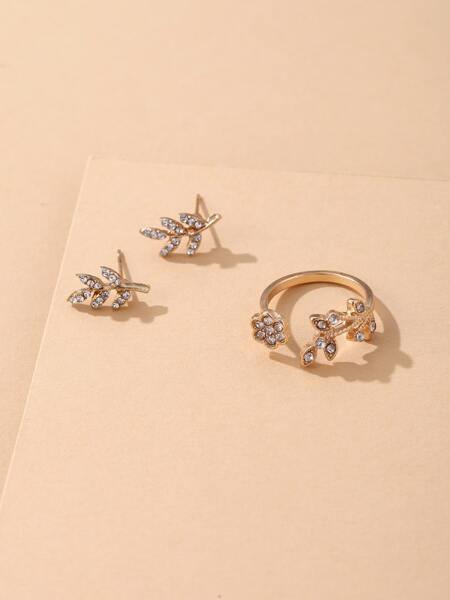 Rhinestone Leaf Decor Ring & 1pair Stud Earrings