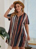 Plus Striped Dress
