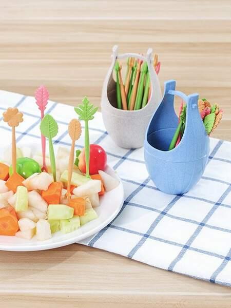 17pcs Random Color Fruit Fork & Bucket Set