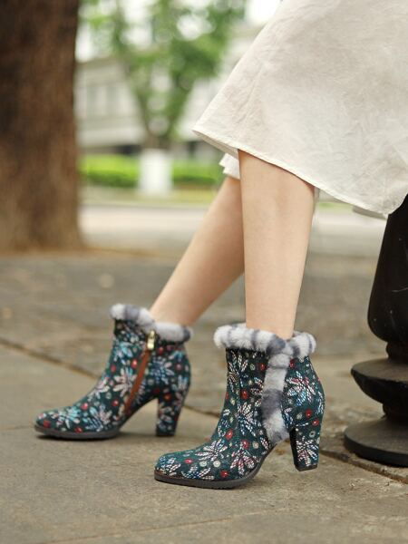 Floral Graphic Fluffy Trim Ankle Boots