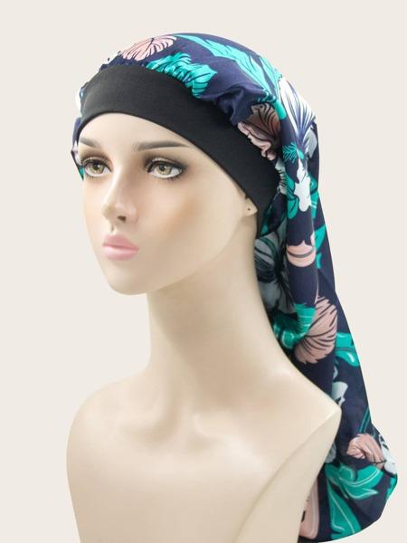 Flower Print Extended Hair Bonnet
