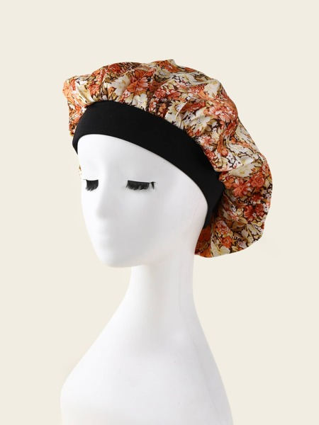 Flower Print Hair Bonnet