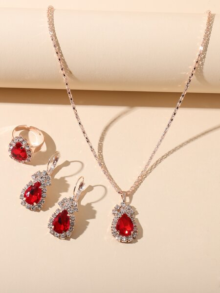 4pcs Water Drop Decor Jewelry Set